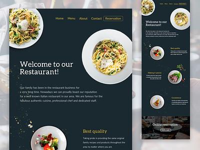 Restaurant Landing Page www webdesigner webdesign web design restaurant website restaurant ui design website builder website creator uidesign userinterface website concept website design website ui