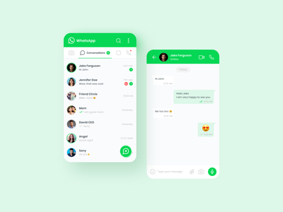 Whatsapp UI Redesign green talk figma whatsapp application app chat ux ui user experience userinterface