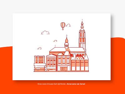 Onze Lieve Vrouwe Kerk @ Breda editorial illustration netherlands nederland brabant illustration church