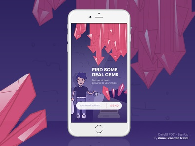 DailyUI #001 - SIgn Up (Hidden Gems) editorial illustration inbox newsletter onboarding signup purple gems ui ux dailyui