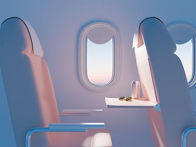 Voyage voyage drink glasses airplane ui plane illustration blender 3d