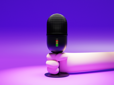 I take the mic violet hand microphone caracter design design illustration blender 3d