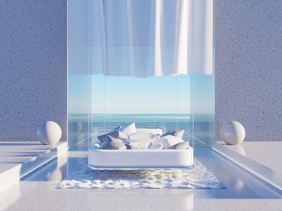 SleepWell sea blue art 3dblender pillow sleep bed design illustration blender 3d