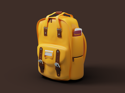 Bagpack objects blender illustration ui luggage baggage bag branding 3d
