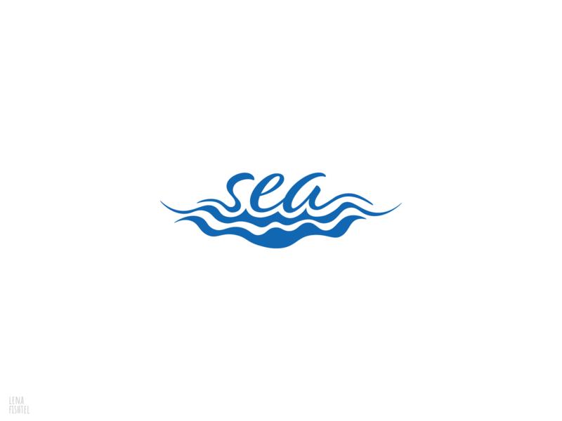 sea type icon app typography lettering illustration flat logo minimal design