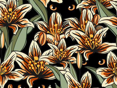 Tiger Lily vector design fabric print fabric fabric pattern pattern design pattern