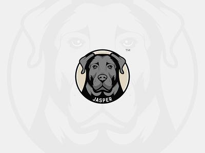 Jasper Logo digital art illustration graphic design badge sticker character mascot portrait cartoon branding brand logo design logomark logo symbol label animals animal pet dog