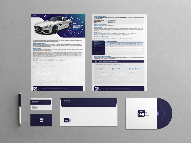 FMI - Corporate Identity company insurance marketing advertising packaging illustration design print corporate brand identity branding brand business card pencil envelope brochure poster flyer cd fmi