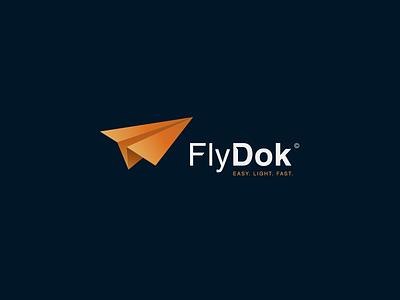 FlyDok Logo branding identity avatar symbol mark logo app gradient isometric 3d transfer documents file flying fly aeroplane jet airplane plane paper