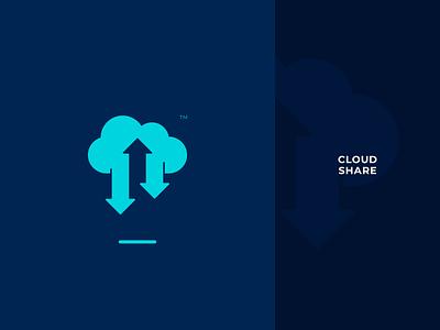 Cloud Share Logo design branding symbol mark logo android ios app web online network hosting server drive storage transfer data file share cloud
