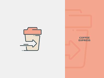 Coffee Express Logo branding identity symbol mark logo cappuccino espresso beverage drink mug cup arrow speed fast shop transport delivery express cafe coffee