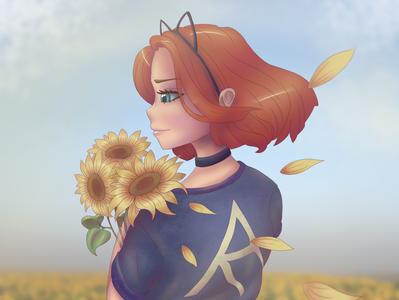 Ginger girl with sunflowers girl character aesthetic ginger sunflowers digital art digital illustration