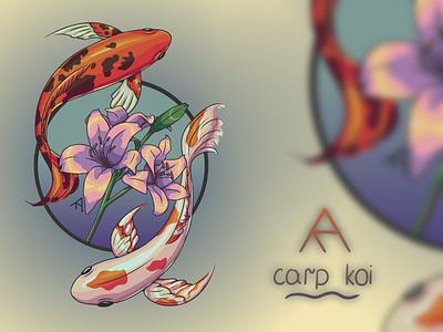 Carp Koi tattoo tattoo lilly flowers carpkoi carp fish illustration aesthetic digital art digital