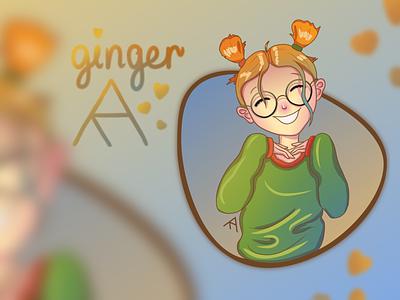 """Redhead"" warm-up before big work design cutie redhead girl ginger aesthetic illustration digital art digital"