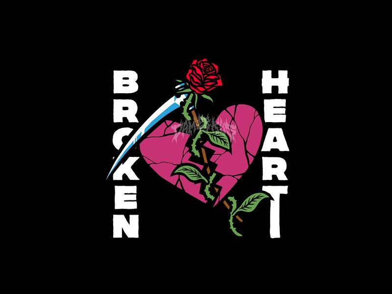 BROKEN HEART tshirt design clothing design artworkforsale merch design merchandise illustration design graphic commission artwork apparel