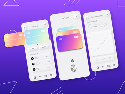 Wallet App neumorphic product design gradient design challenge iphone sketches userflow challenge sketch ux uiux ui design app walletapp payment wallet