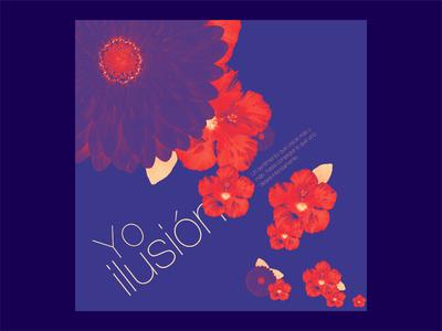 Yo ilusión colores frase flores postal ilusion colours phrase flowers postcard illusion