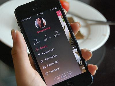 8 Days Eat Dribbble app design ui interface iphone apps menu food activity