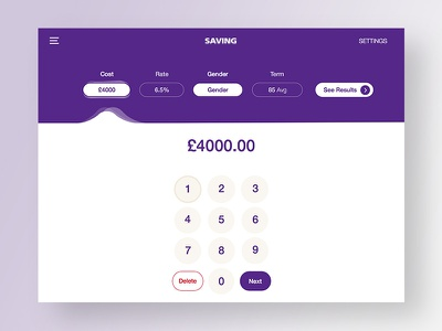Savings Calculator money purple numbers savings calculator banking app ux ui