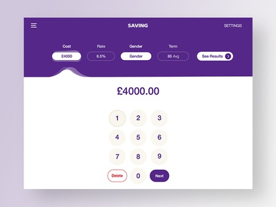 Savings Calculator money purple numbers savings calculator banking app ux ui