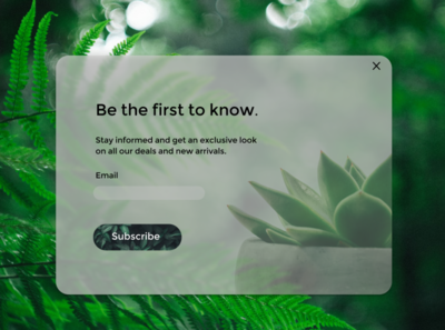 Daily UI 026: Updated Version ux ui succulents subscription box subscribers subscribe pop up subscribe form subscribe plants nature minimal green frosted glass effect frosted glass clean ui clean daily ui 26 daily ui 026 daily ui dailyuichallenge