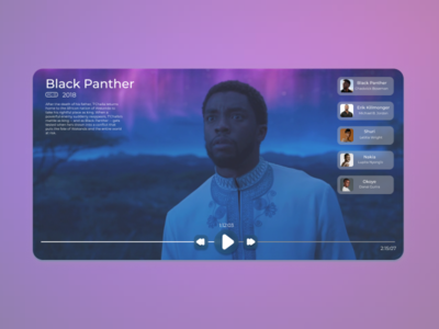 Daily UI 057 figmadesign ux ui user experience userinterface marvel minimal figma clean rip legend tribute chadwick boseman black panther video player design video player daily ui 57 daily ui 057 daily ui dailyuichallenge