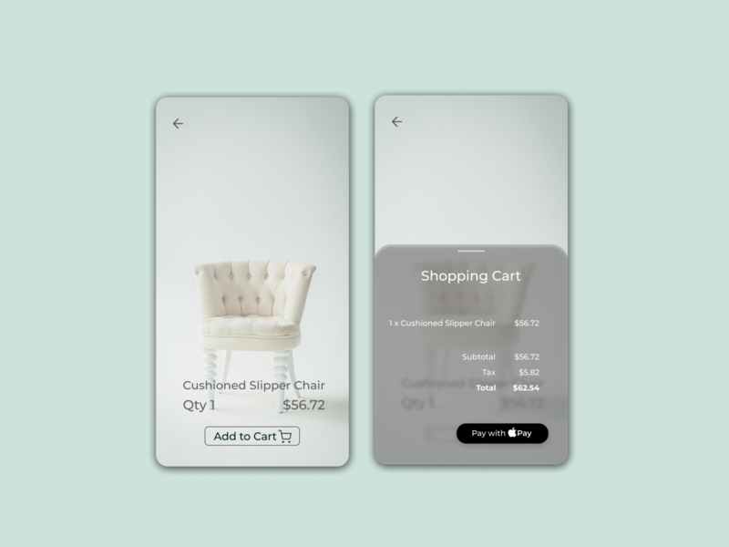Daily UI 058 furniture figmadesign figma user experience userinterface uiux ux ui apple pay simple frosted glass shopping cart design shopping cart ui shopping cart minimal clean daily ui 58 daily ui 058 daily ui dailyuichallenge