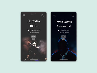 Daily UI 070 figma ux ui artists hip hop rap music events event booking concert design concert 2021 travis scott j cole event listing design event listing daily ui 070 daily ui dailyuichallenge