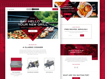 Homepage Concept landing page design concept classic grill cooker layout homepage web design website web