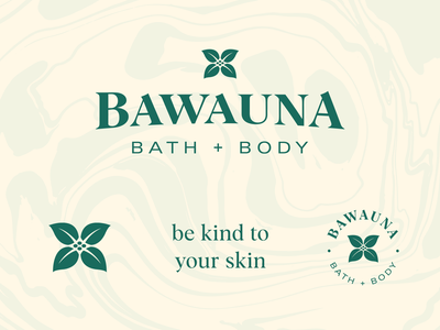 Bawauna Bath + Body marble texture flower branding skincare luxury soap logo identity branding identity