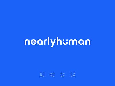 NearlyHuman Logo Concept gradient blue logo design brand identity brand design brand human typography vector branding illustration logo