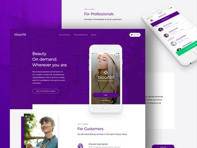 Bloom'd Landing Page web design app purple beauty clean grid ux ui landing page homepage website web