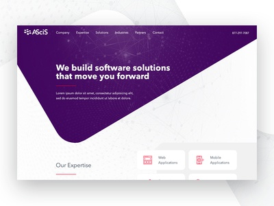 Software Solutions tech business homepage web design layout solutions software shapes clean ui web website