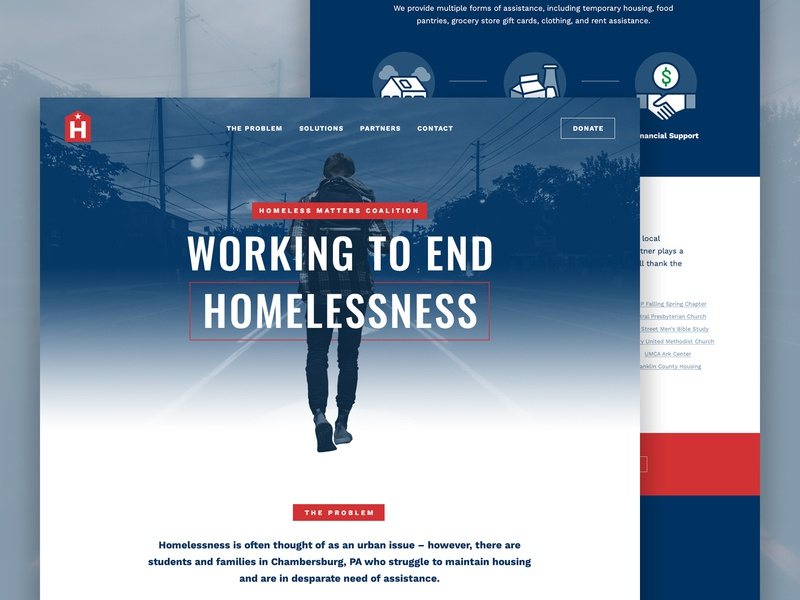 Homeless Matters Coalition typography onepager nonprofit grid clean flat ux layout web design web website
