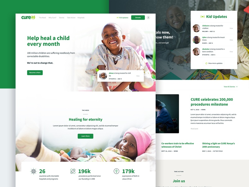 Cure.org Homepage kids cure ux ui nonprofit homepage responsive layout web design web website