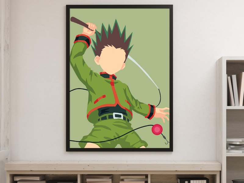 Hunter X Hunter Gon Freecs /Poster Anime/Minimalist Art hunter x hunter art etsy prints etsy seller minimalist poster flat art hisoka killua gon freecs gon hxh hunterxhunter 2d flat minimalist flat design vector art vector anime illustrator illustration