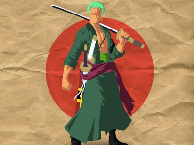 Flat art of Zoro from One Piece!