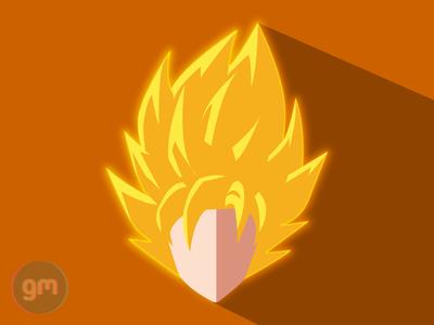 Flat art of Goku SSJ from Dragoball Z - Frieza Saga