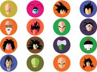 Flata art of all characters of Saiyan Saga - Dragonball Z