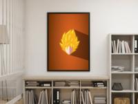Dragonball Goku SSJ - flat digital printable poster
