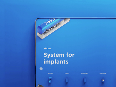 Hero Section Dental implants gif hover 3d implants dental blue icon move icon website product design ui uiux interface animation