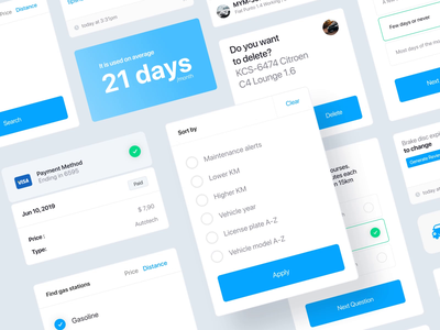 Components Herbie app uidaily uidesign illustration product design uiux interface blue vehicle app style guide design system components animation ui