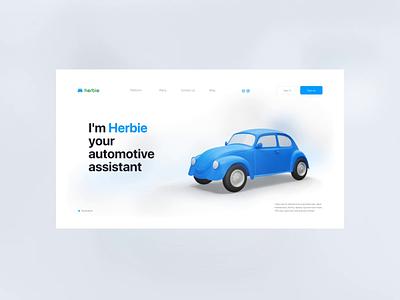 Herbie Vehicles App - Website minimalist clean landingpage beetle vehicle 3d daily product design website uidesign uiux interface animation ui