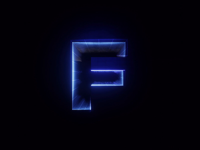 F Synthwave Style font render typography typeface motion design letter 3d animation