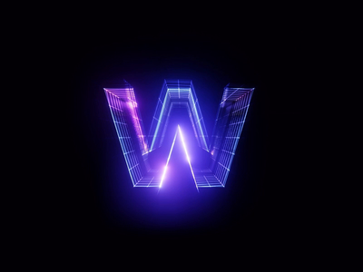 w Synthwave Style typography typeface render motion letter font app animation