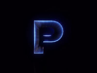 P Synthwave Style letter synthwave vaporwave motion 3d font type illustration animation