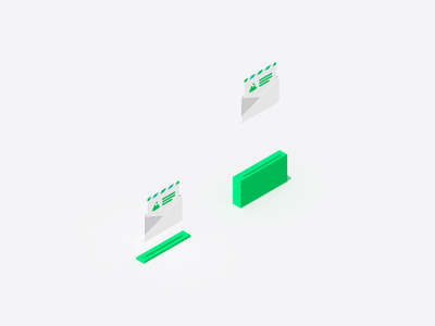 newsletter jump illustration icon newsletter website c4d clean motion gif animation