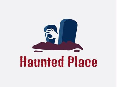 HAUNTED PLACE LOGO spooky graveyard zombie ghost halloween dribbbleweeklywarmup icon logo design design flat logo branding logo