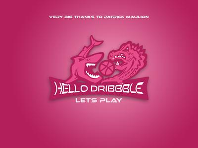 Hello Dribbble surabaya indonesia branding first shoot flat hello dribbble logo