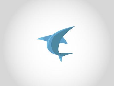BIG FISH! swordfish jump blue big fisherman fish animal illustration branding vector logo design